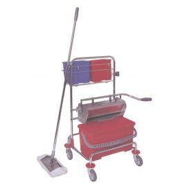 Reinigungswagen Hotelwagen mit Plastik Eimer und Edelstahl Flachpresse